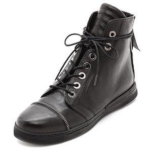 Stuart Weitzman Zip High top leather sneakers